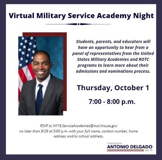 Invitation for Congressman Antonio Delgado's 2020 Virtual Military Service Academy Night